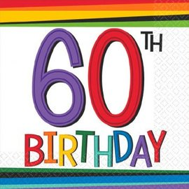 Rainbow Birthday Beverage Napkins 60 16ct.