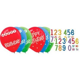 Rainbow Birthday Add-Any-Age Latex Balloons - Asst. Colors 15ct