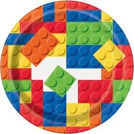 "Building Blocks Plates 7"" 8Ct"