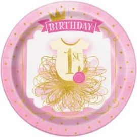 "Pink/Gold First Birthday 9"" Round Plate -8ct"