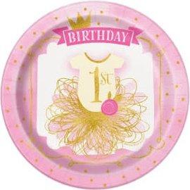 "Pink/Gold First Birthday 9"" Round Plate -8ct"