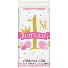 Pink & Gold First Birthday Table Cover