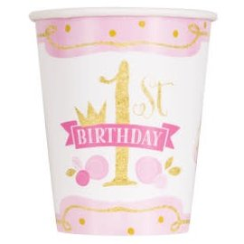 PINK/GOLD First Birthday 9oz -8ct