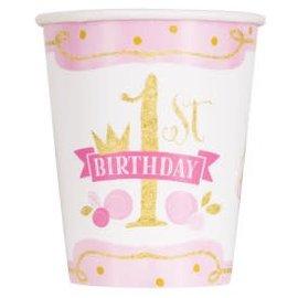 PINK/GOLD First Birthday 9oz -8ct