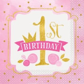 PINK/GOLD First Birthday Lunch Napkins-16ct