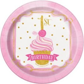 "PINK/GOLD First Birthday 7"" Round Dessert -8ct"