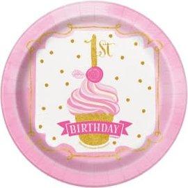 """PINK/GOLD First Birthday 7"""" Round Dessert -8ct"""