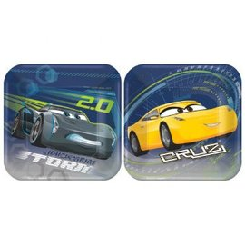 """Disney Cars 3 Square Plates, 7""""-8ct - Clearance"""