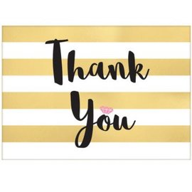 Gold Striped Wedding Thank You Cards, 8ct