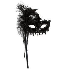 Black Magic Feather Masquerade Mask on a Stick