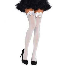 White Thigh Highs with White Satin Bow ‑ Adult Standard