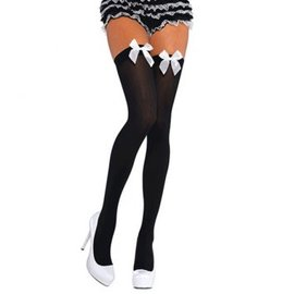 Black Thigh Highs with White Satin Bow ‑ Adult Standard