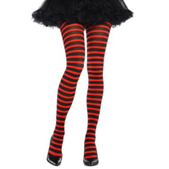 5ad2e85baf47d Red/Black Striped Tights - Adult Standard - POP! Party Supply