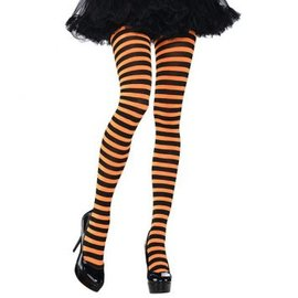 Orange/Black Striped Tights ‑ Adult Standard