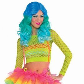 Shirt Crop Fishnet Electric Party, Adult Standard