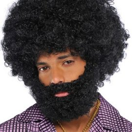 Black Afro Beard & Moustache
