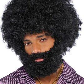 Black Afro Beard & Moustache