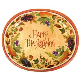 "Thanksgiving Medley Oval Paper Platter, 12"" 8ct"