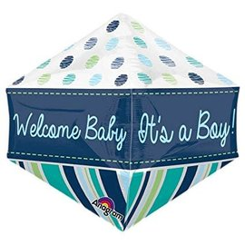 "Welcome Baby Boy Anglez Balloon, 21"" (#112)"