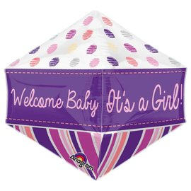 "Welcome Baby Girl Anglez Balloon, 21"" (#111)"