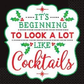 Christmas Cocktail Beverage Napkins