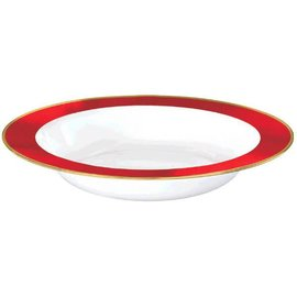 White Premium Plastic Bowls w/ Red Border, 12 oz. 10ct.