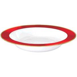 White Premium Plastic Bowls w/ Red Border, 12 oz. 10ct.