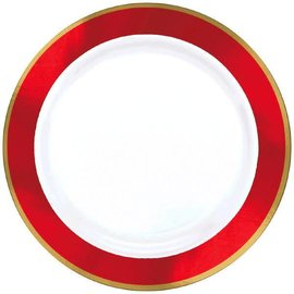 "White Premium Plastic Round Plates w/ Red Border, 7 1/2"" 10ct."