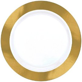 "White Premium Plastic Round Plates w/ Gold Border, 7 1/2"" 10ct."