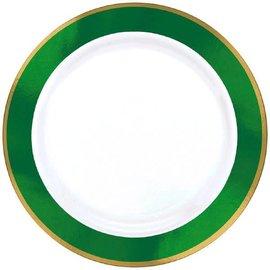 """White Premium Plastic Round Plates w/ Festive Green Border, 7 1/2"""""""