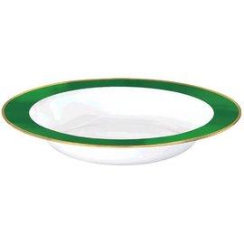 White Premium Plastic Bowls w/ Festive Green Border, 12 oz.