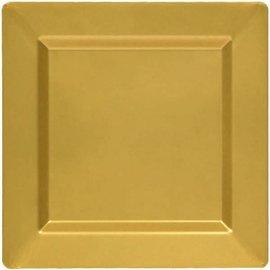 """Gold Premium Plastic Square Plates, 10"""" 10ct."""