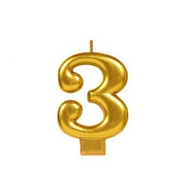Numeral #3 Metallic Candle - Gold