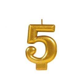 Numeral #5 Metallic Candle - Gold