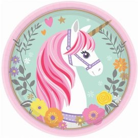 "Magical Unicorn Round Plates, 7"" 8ct"