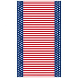 "Stars & Stripes Flannel-Backed Vinyl Table Cover 52"" x 90"""