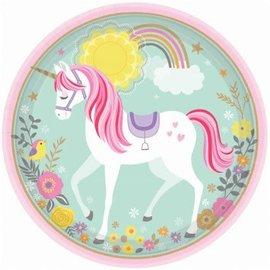 "Magical Unicorn Round Plates, 9"" 8ct."