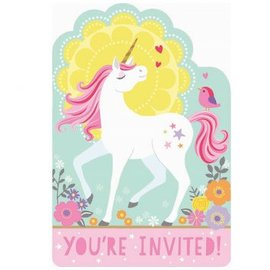 Magical Unicorn Postcard Invitations 8ct.