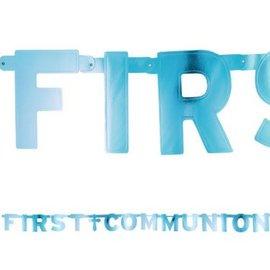 Blue First Communion Letter Banner
