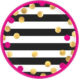 Pink And Gold Confetti Metallic Round Plates, 7""