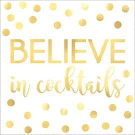 """Believe In Cocktails"" Beverage Napkins - Foil Hot-Stamped 16ct"
