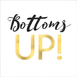 """Bottoms Up"" Beverage Napkins - Foil Hot-Stamped 16ct"