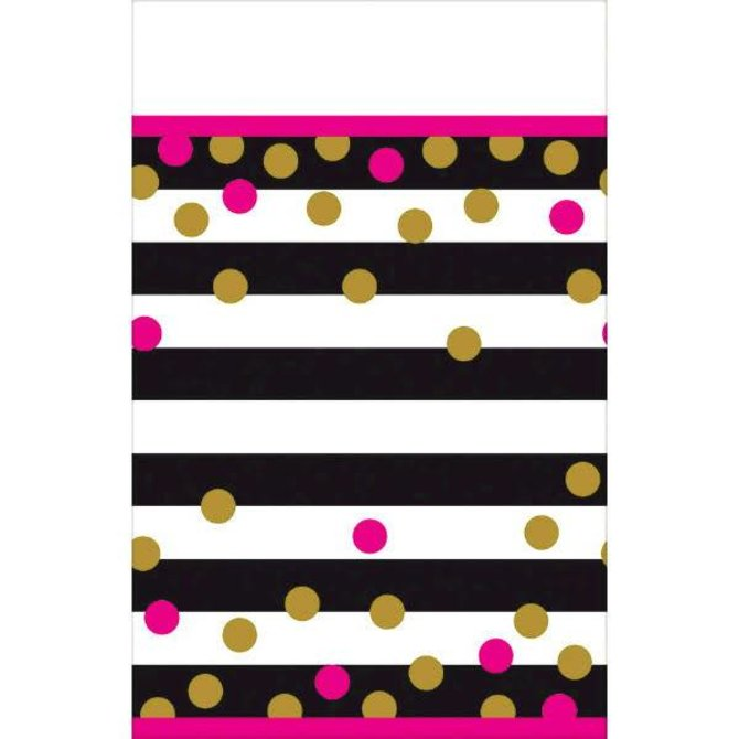Pink And Gold Confetti Plastic Table Cover Pop Party Supply