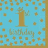 1st Birthday Boy Beverage Napkins 16 count