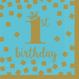 1st Birthday Boy Beverage Napkins 16 count