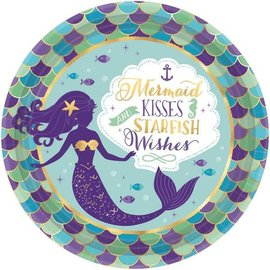 "Mermaid Wishes Metallic Round Plates, 9"" 8ct"