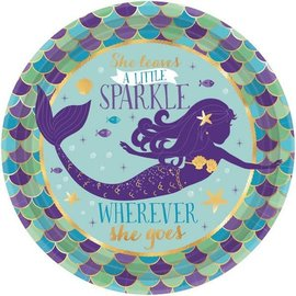 "Mermaid Wishes Metallic Round Plates, 7"" 8ct"