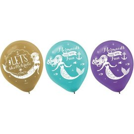 Mermaid Wishes Latex Balloons, 6ct.