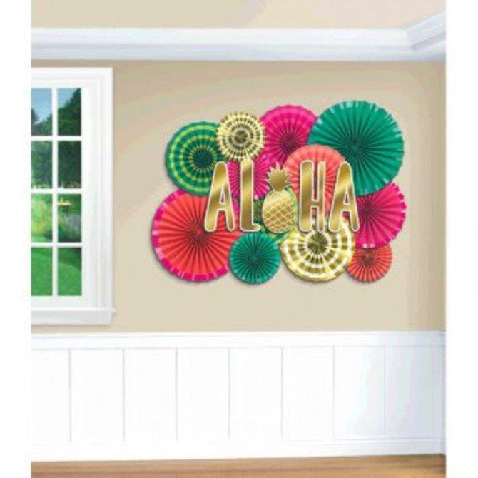 Aloha Paper Fan Decoration Kit 22pc