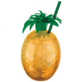 Gold Pineapple Cup with Straw